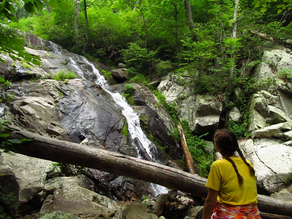 Hiker relaxes while admiring a lower portion of Fallingwater Cascades