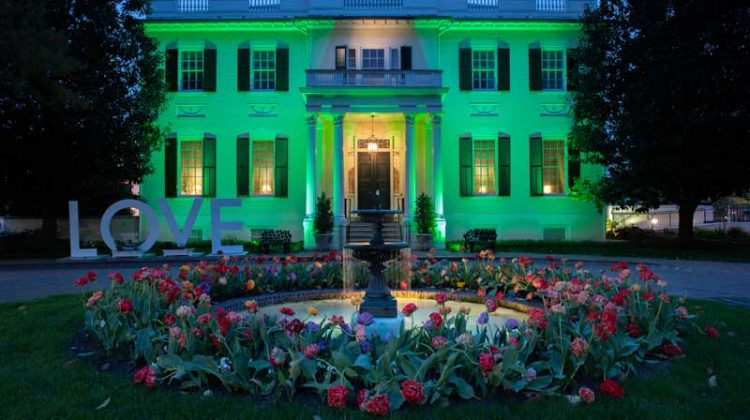 LOVE Artwork with Flower Boxes on Display at the Executive Mansion for Earth Day and Garden Day