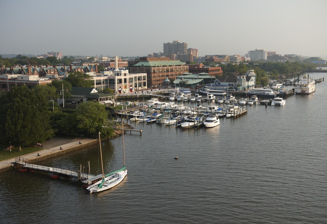 Dockside in Alexandria. Aerial.